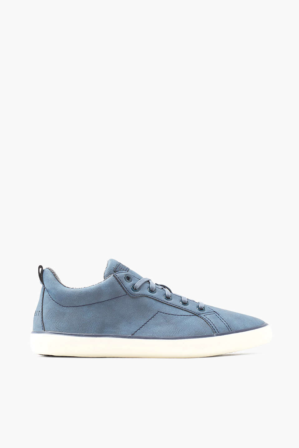 With a thin rubber outsole: trainers in soft faux nubuck leather
