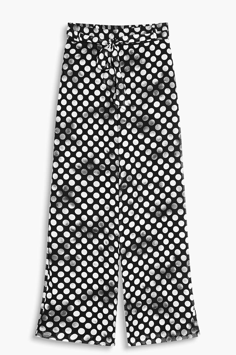 Wide leg chiffon trousers with an innovative polka dot pattern, semi-elasticated waistband and tie-around belt