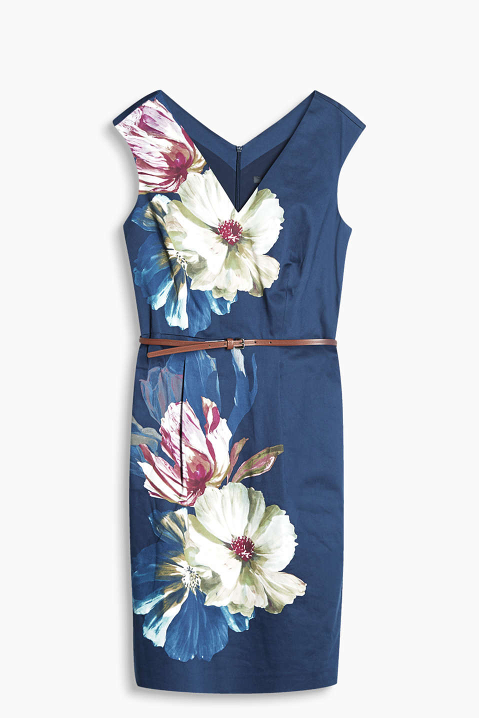 Feminine dress with positioned flower prints, cotton/stretch