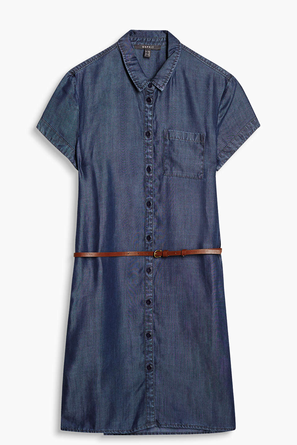 Flowing shirt-blouse dress in a trendy denim look with a thin faux leather belt