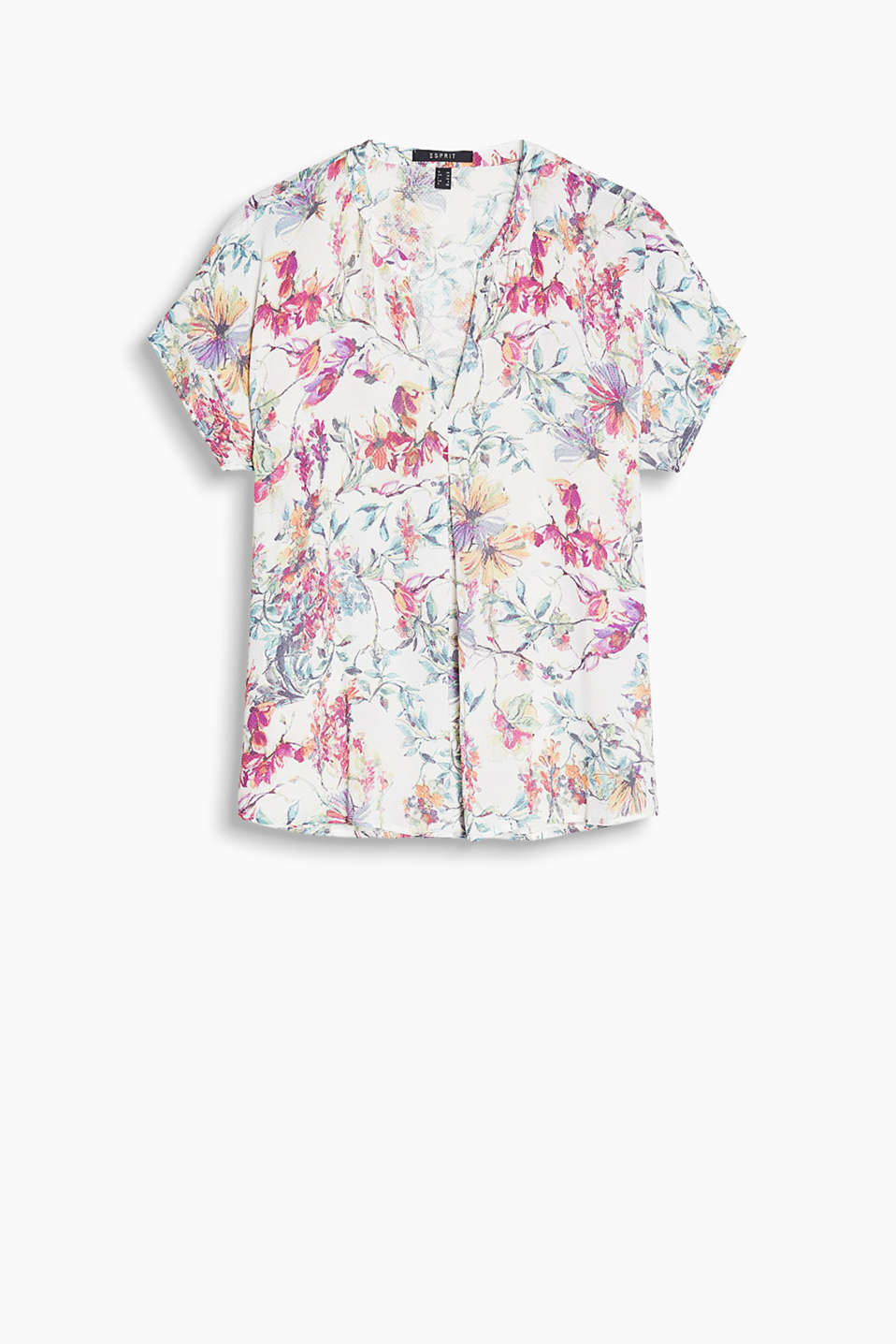 With a front pleat: blouse in flowing, textured fabric with a floral print