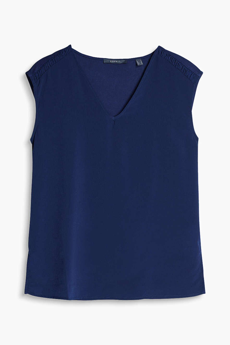 Blouse top made of airy blended material with a V-neckline, high-low hem and crinkled shoulder yoke