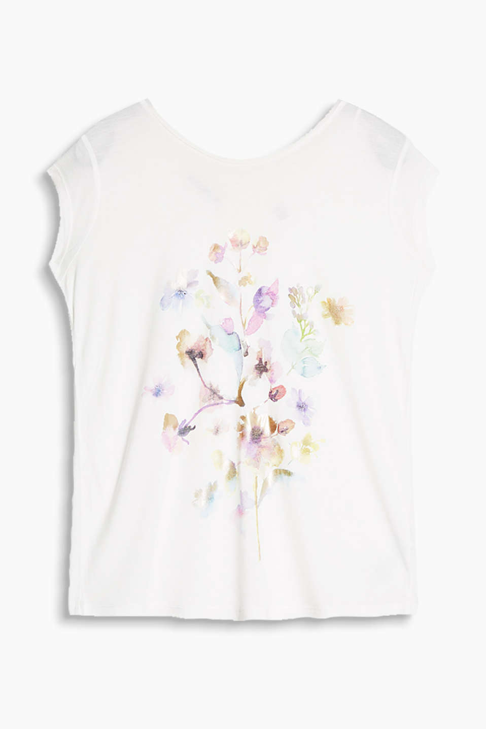 Flowing top with a shiny foil print in a watercolour style and a V-neckline at the back