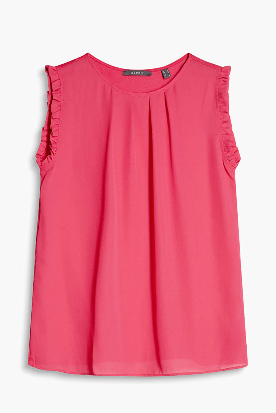 Sleeveless semi-sheer top in softly flowing blended fabric with pretty frills