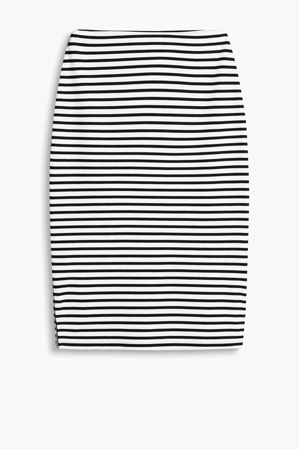 Close-fitting midi skirt in a striped look