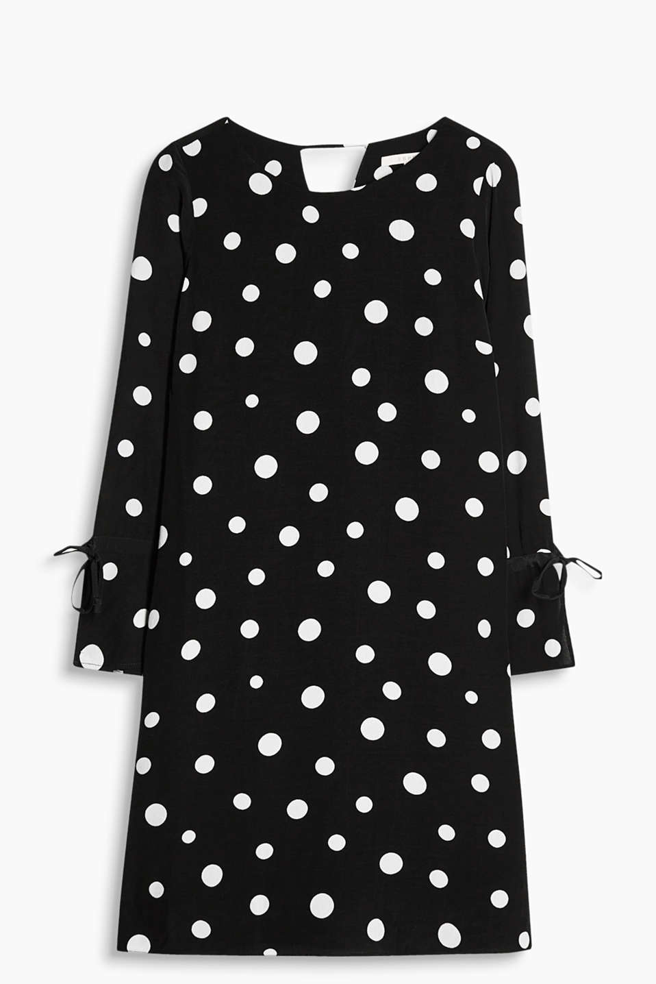 Show off your polka dots! Long sleeve dress with a silky shimmer and a pretty polka dot print
