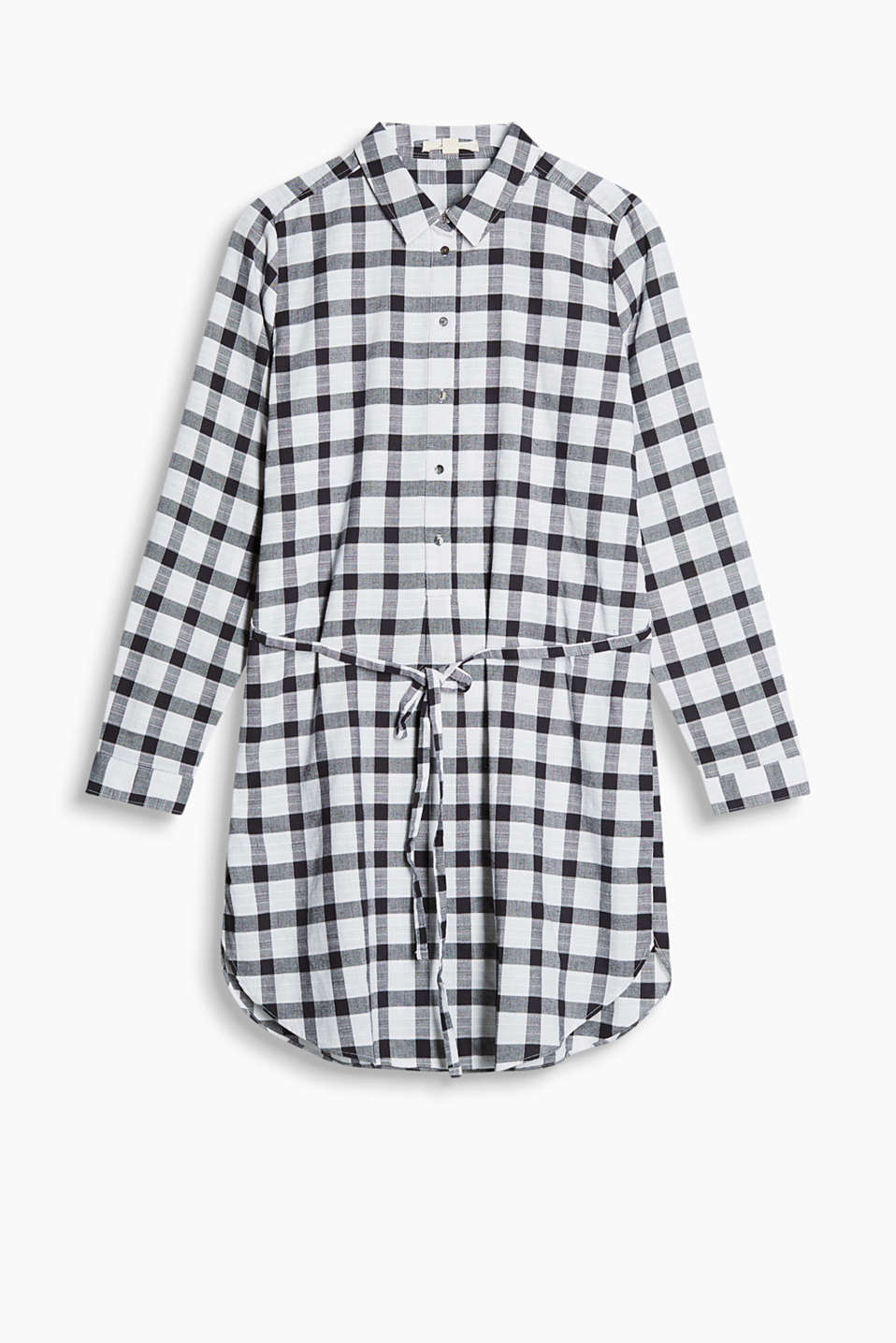 Checked, pure cotton shirt dress with a tie-around belt