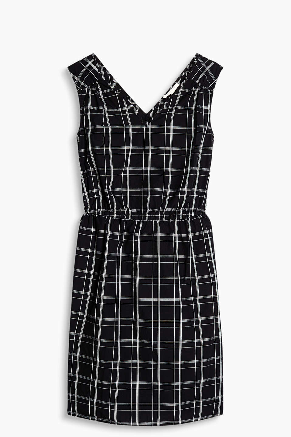 Fitted dress made of firm poplin fabric with large, interwoven checks and slit pockets