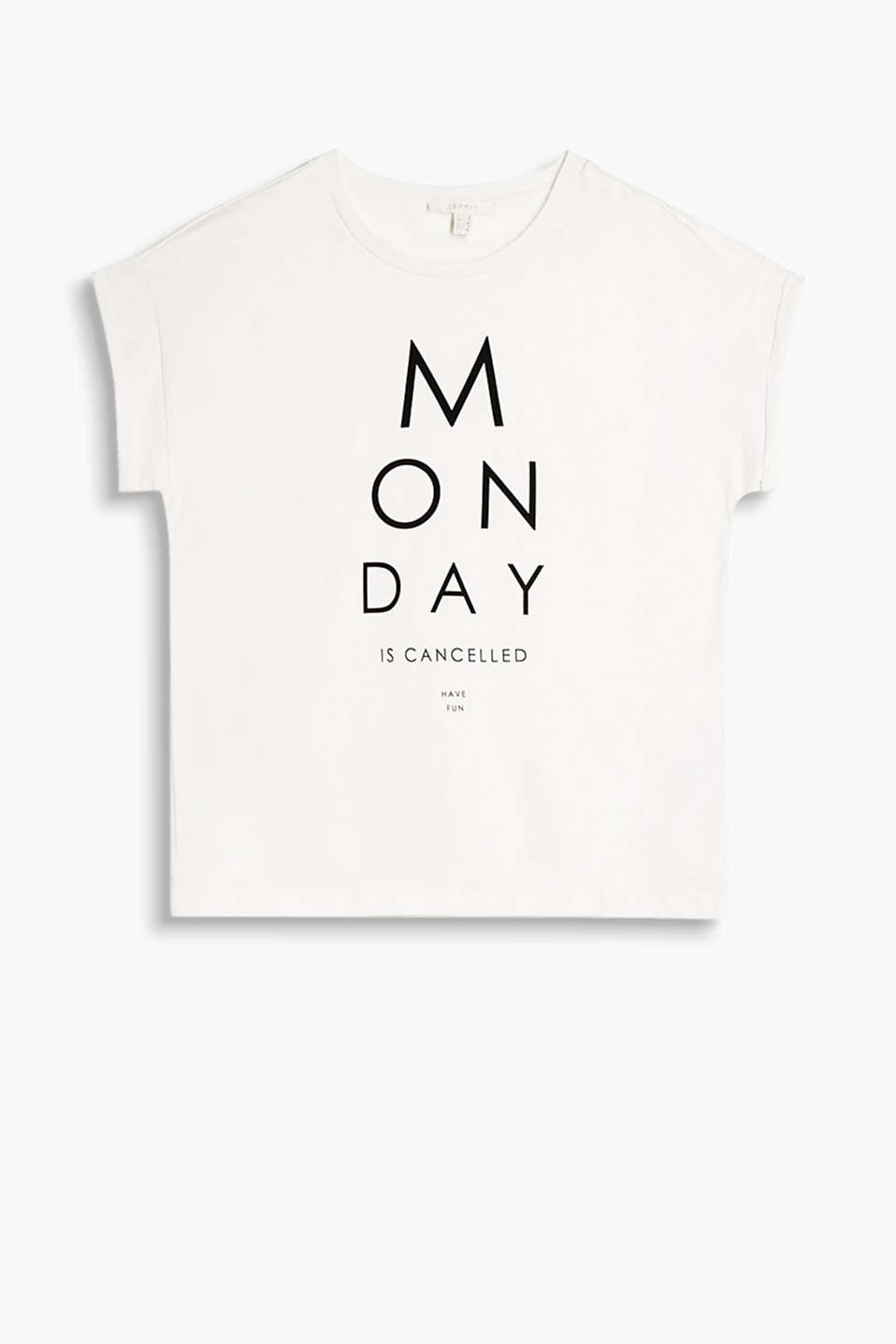 Boxy T-shirt in soft cotton-jersey with a cool slogan print