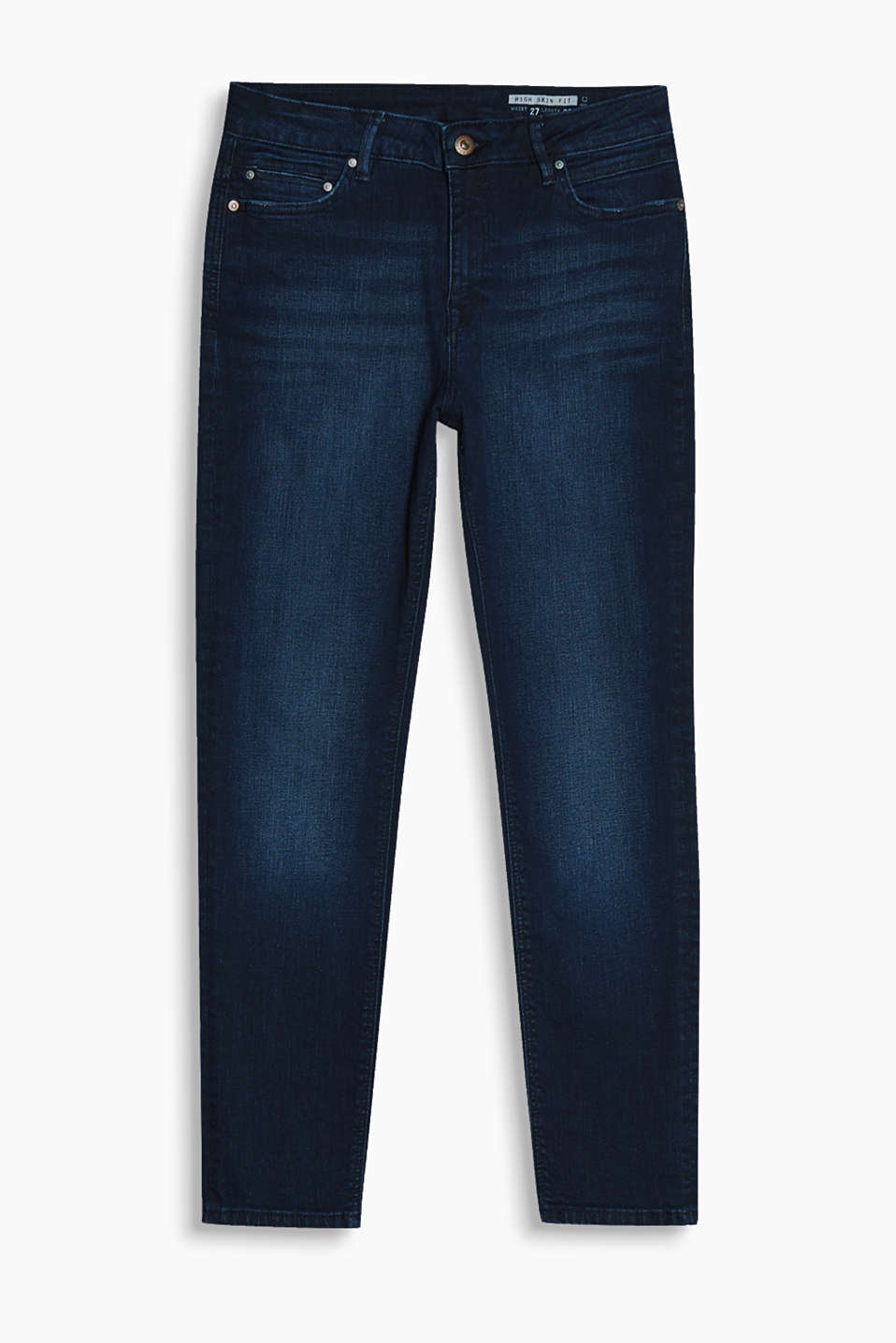 Cropped jeans in dark blue cotton denim with added stretch for comfort and a garment-washed finish