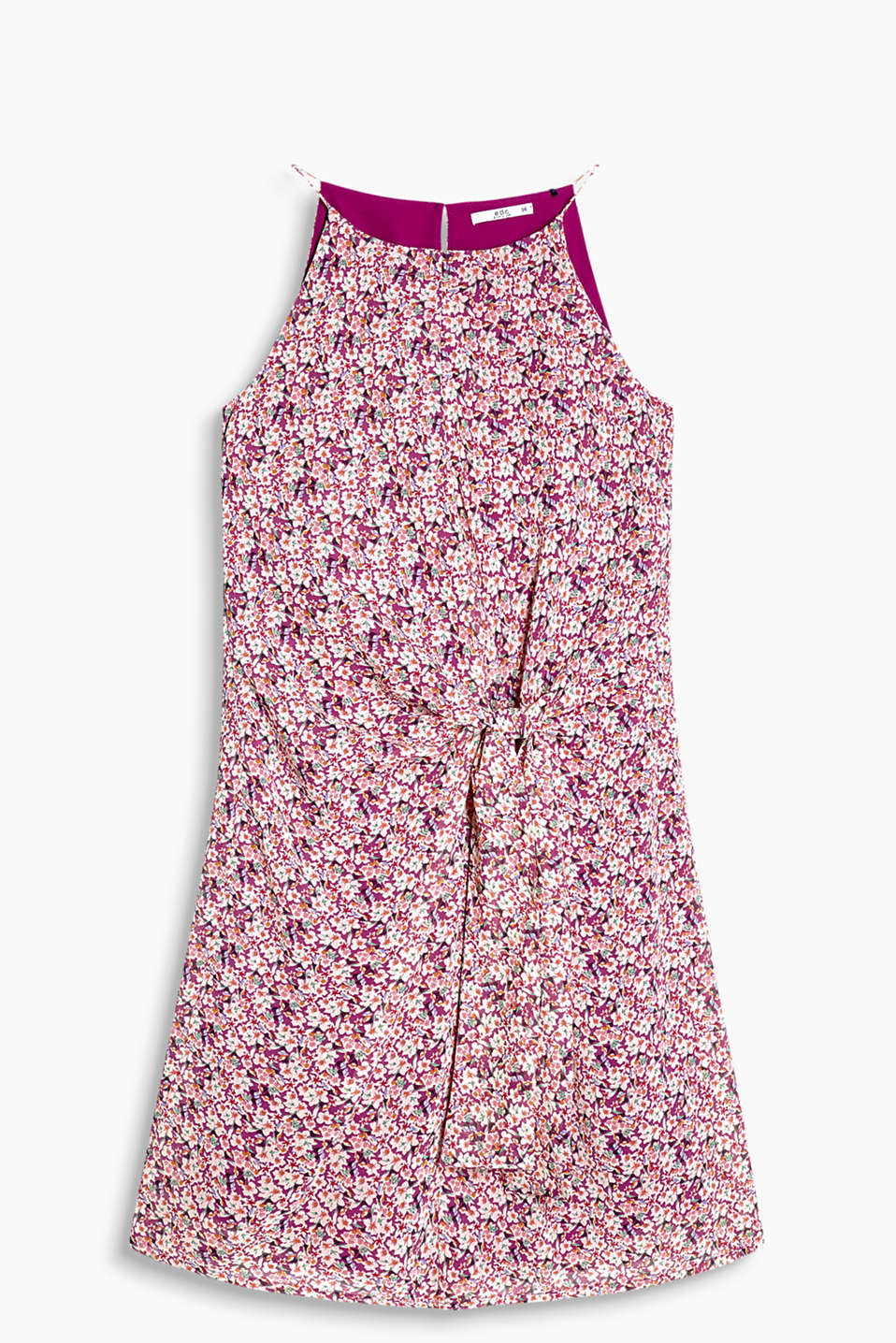 Crêpe dress with an opaque lining with a sweet floral print and knotted detail at the waist