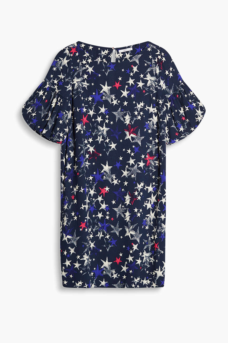 Crêpe dress with balloon sleeves and a mixed pattern or a star pattern