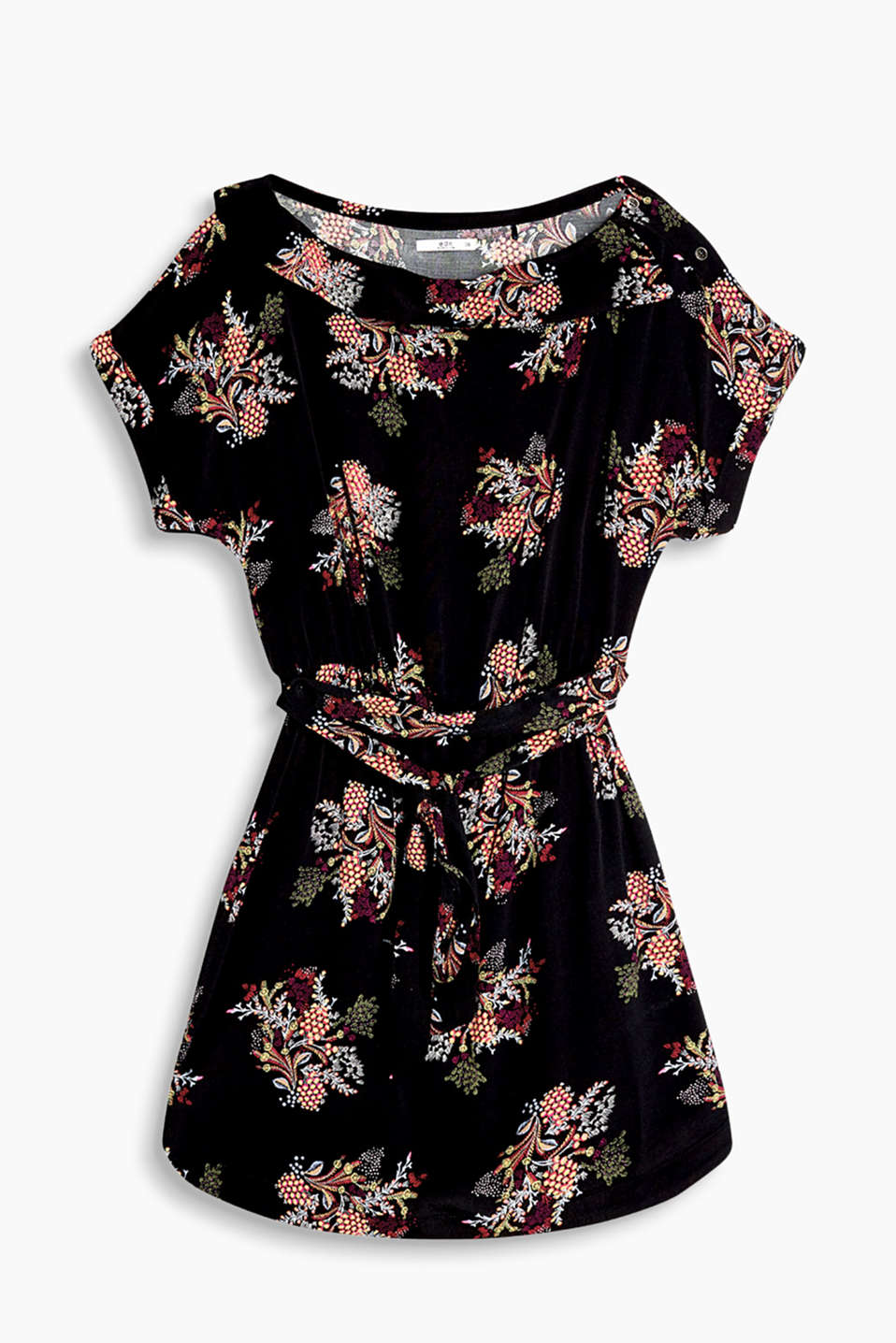 Floral print crêpe dress with a Carmen neckline and a tie-around belt