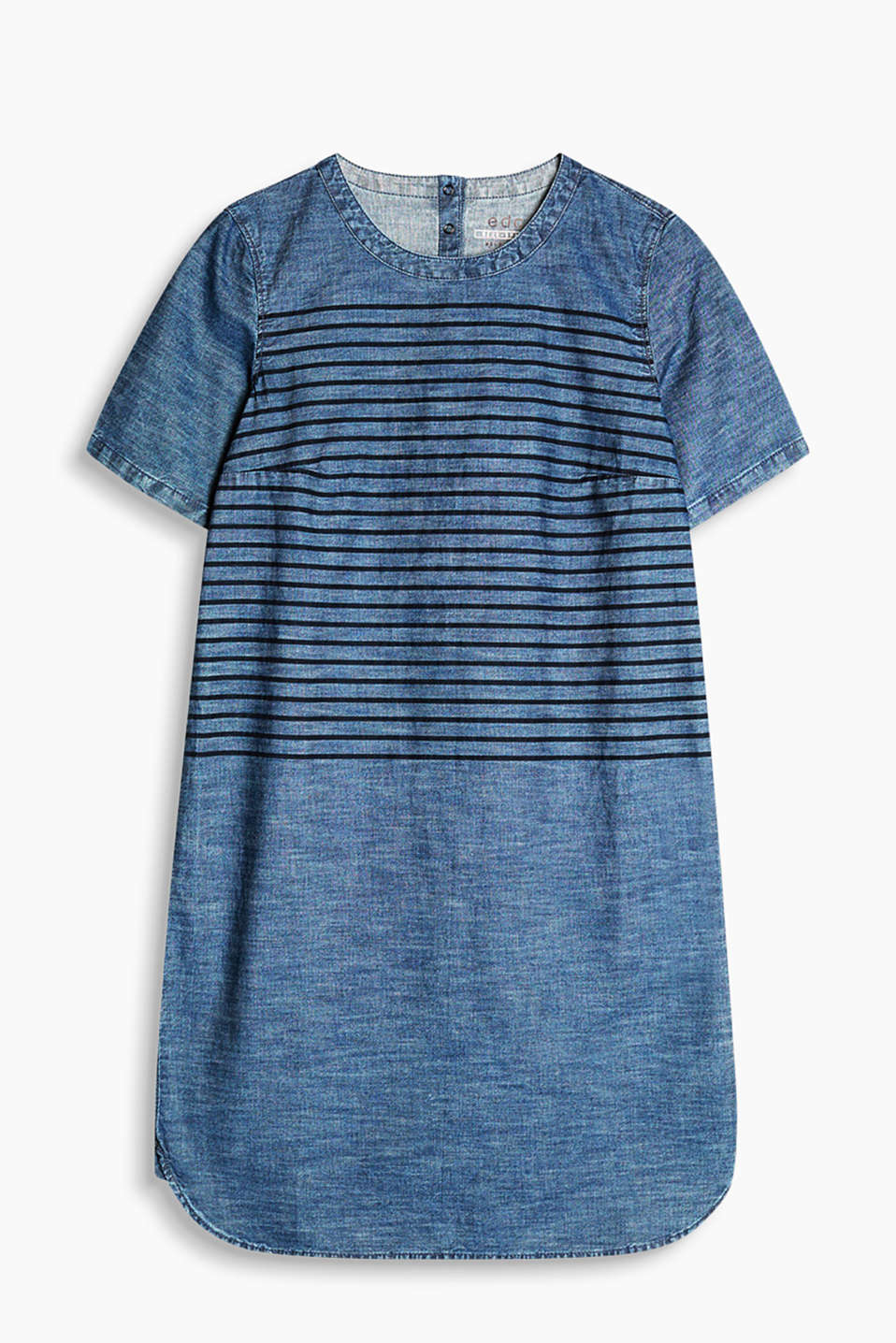Soft denim dress with a positioned striped print