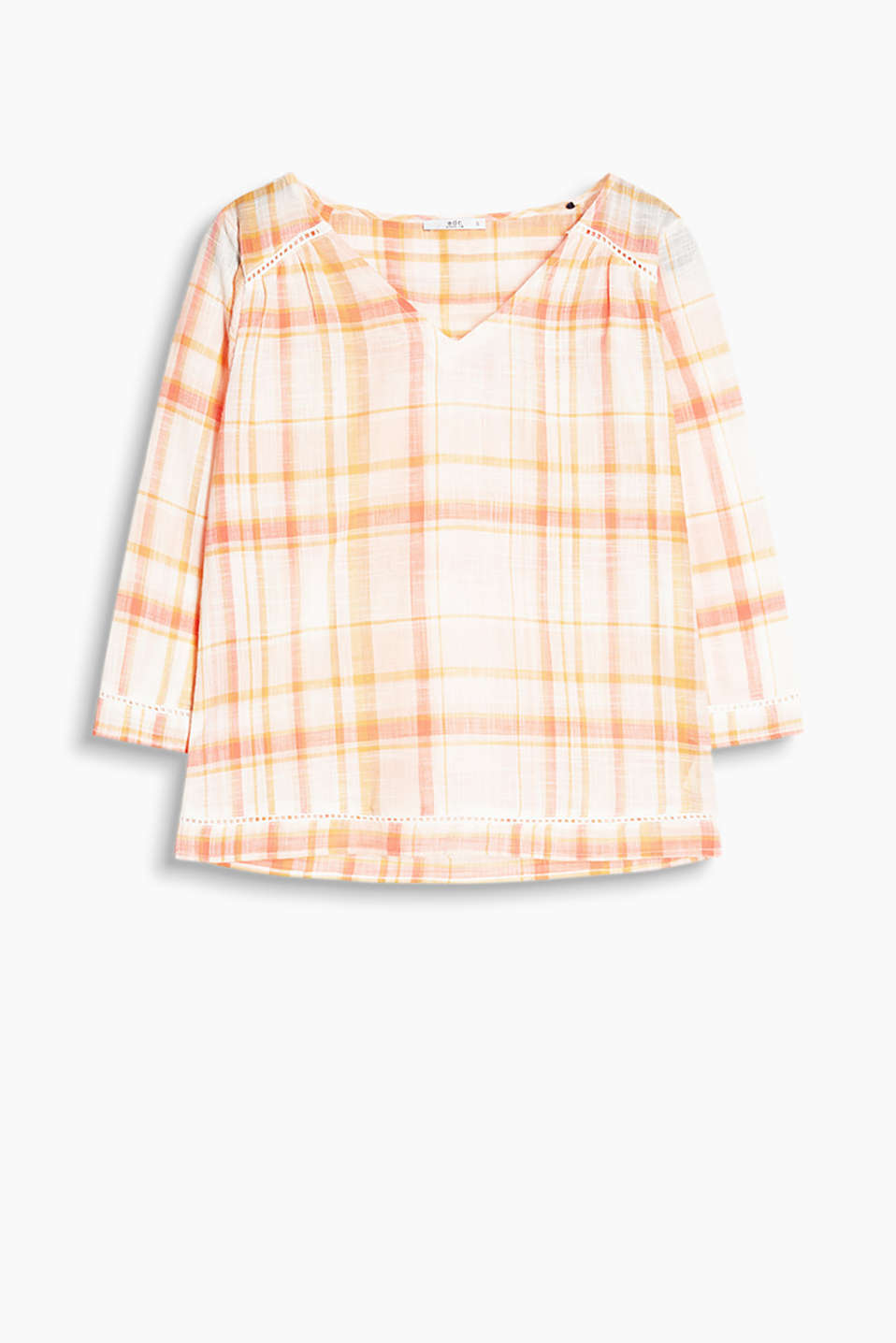 Feminine check blouse in a tunic style with broderie anglaise