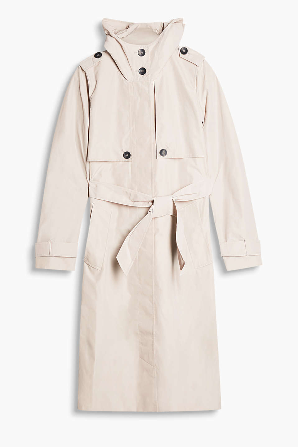 A piece ifor all occasions: smart, cool trench cost in waterproof nylon outer material