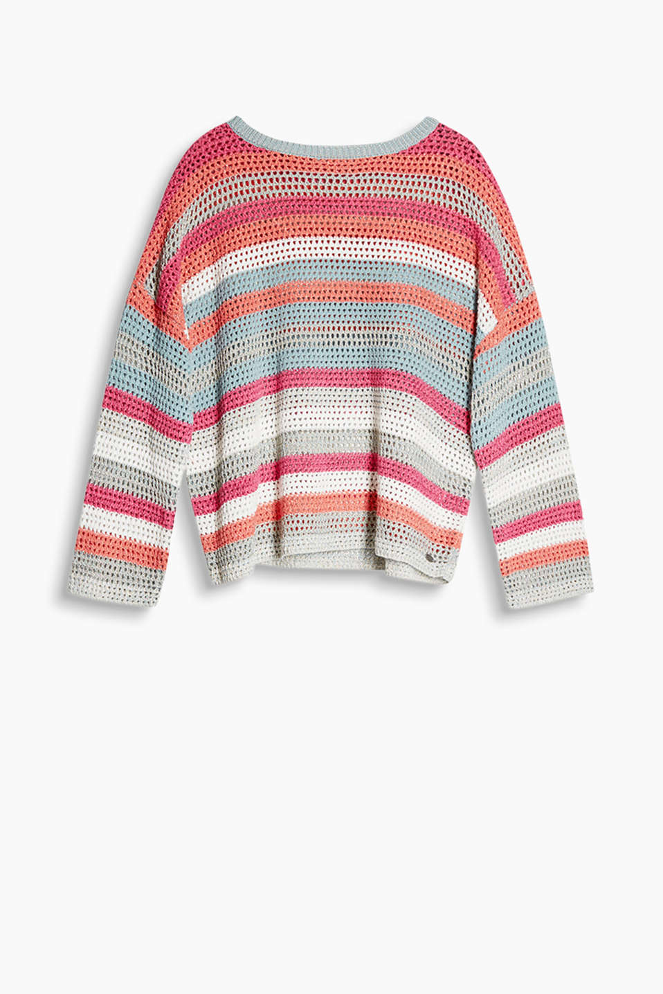 Oversized jumper made of colourful striped openwork knit yarn with lurex