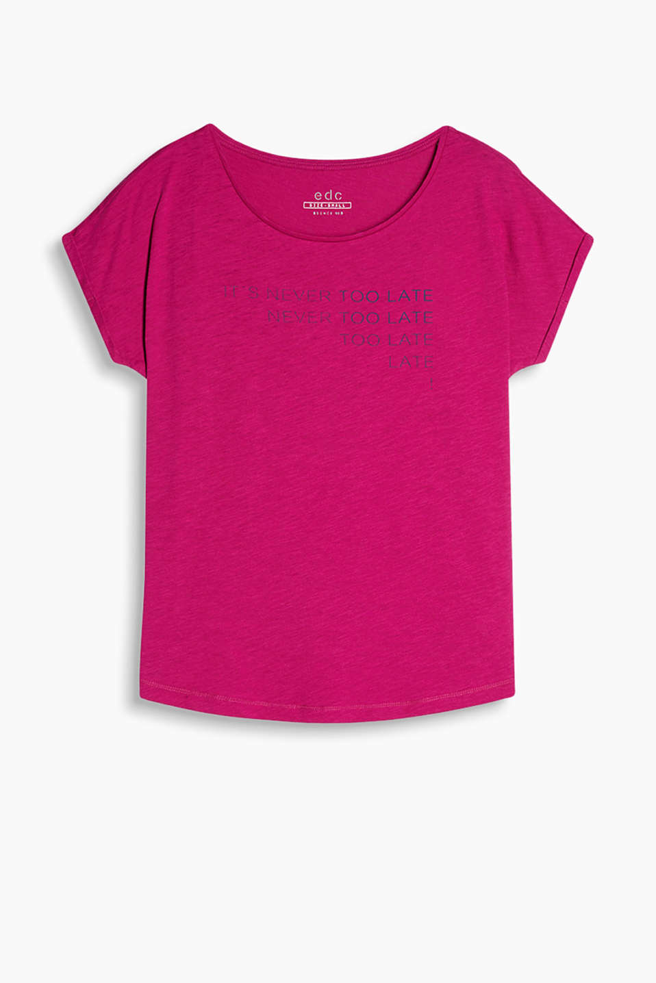 T-shirt with cool, printed lettering, a round neckline, batwing sleeves and a rounded hem