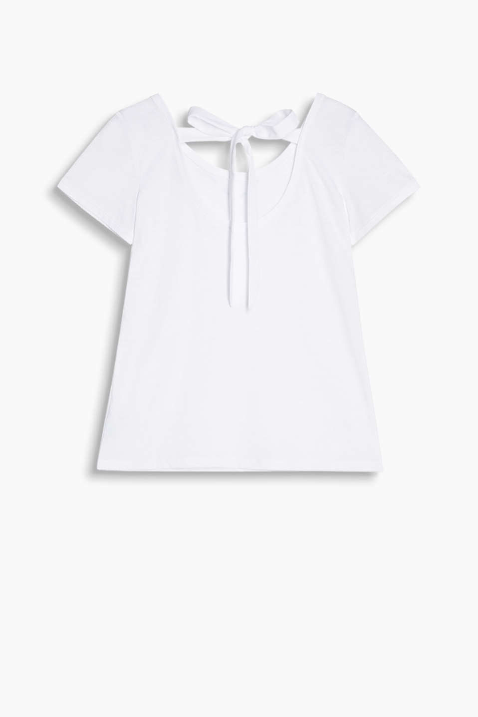 Slub T-shirt with chiffon bow on the back neckline