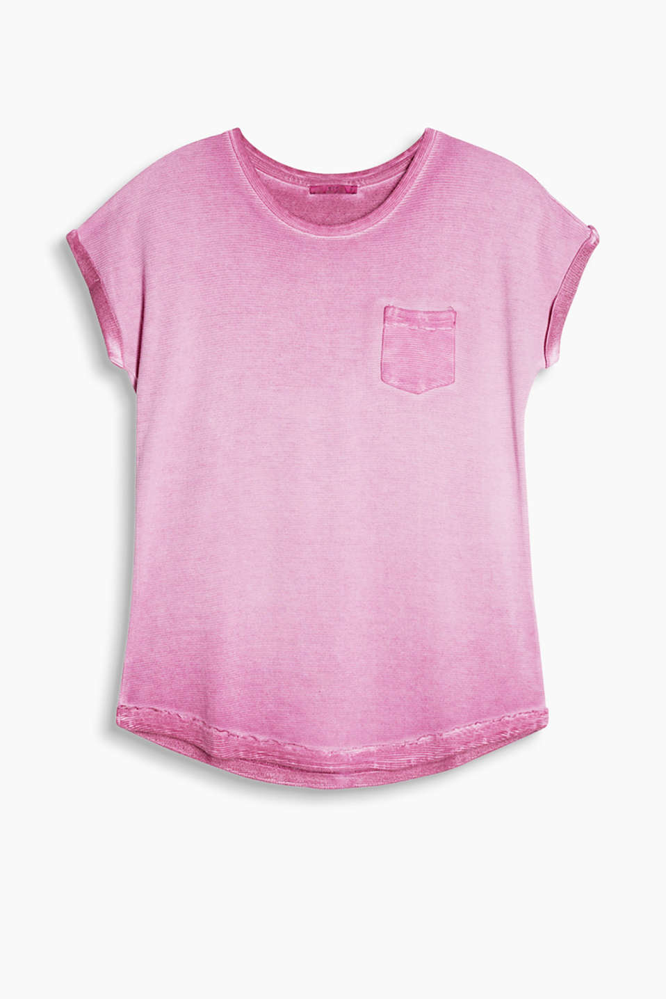 Casual T-shirt made of ribbed jersey featuring a cool, on-trend dye