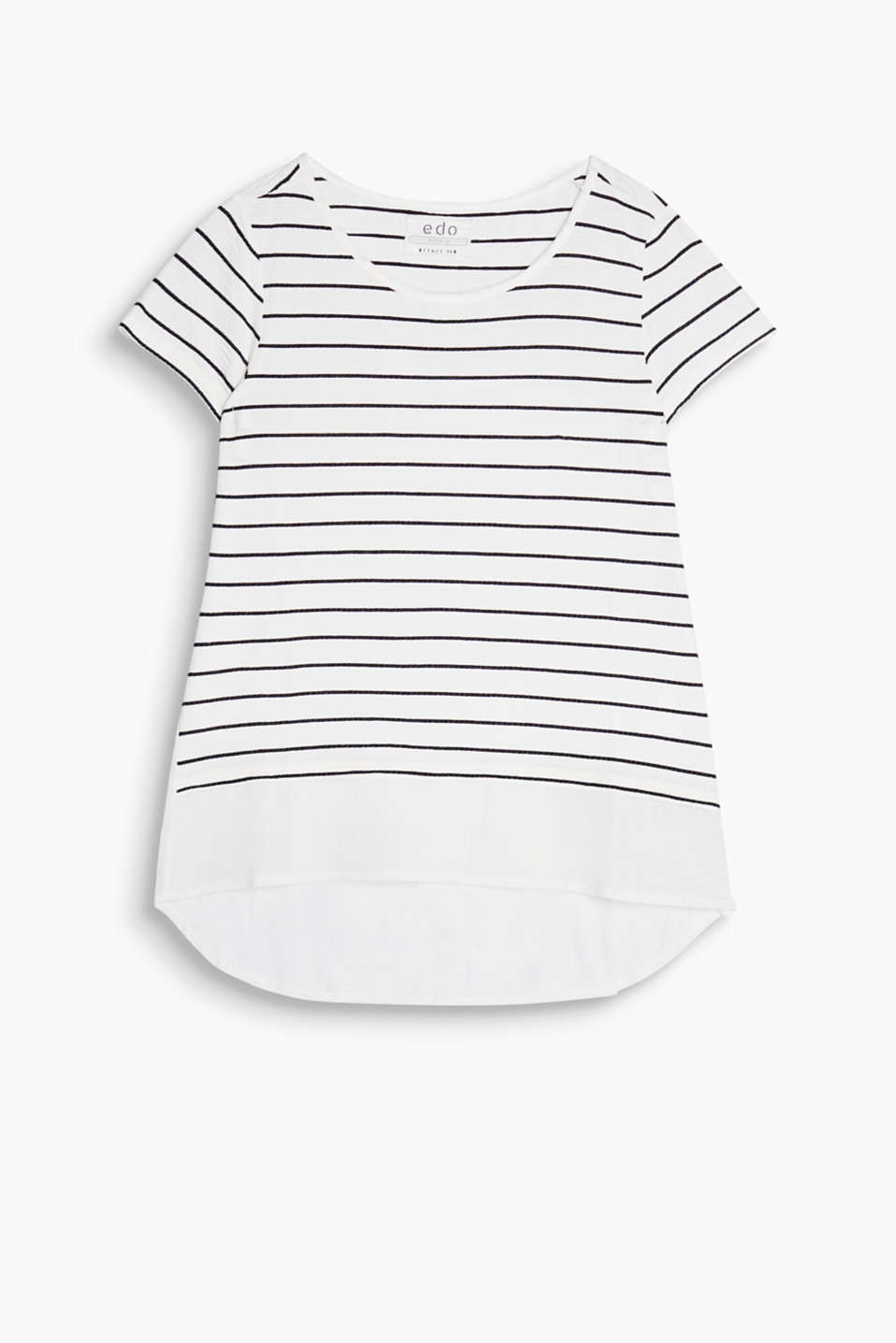 Striped T-shirt in a material mix look including piqué jersey and a back and hem made of cotton fabric