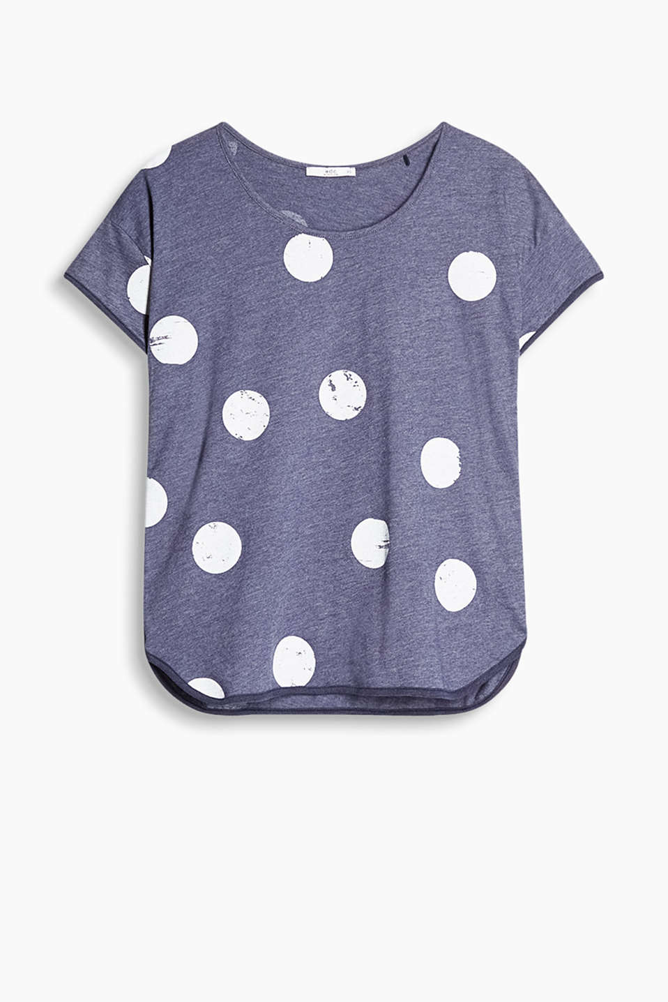 Loose T-shirt with polka dot print and piping
