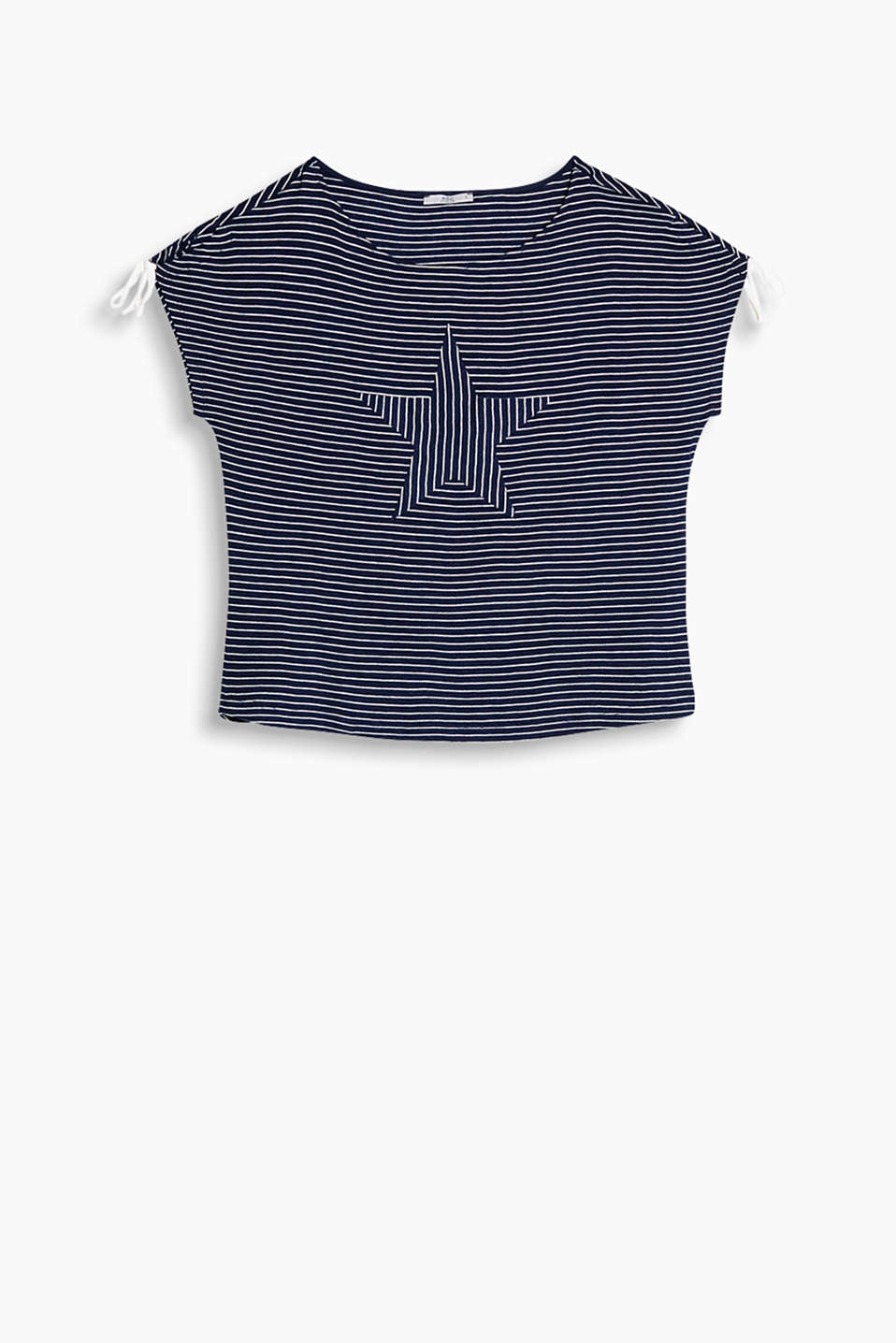 Striped T-shirt with gathered ties on the sleeves and an appliqué on the front