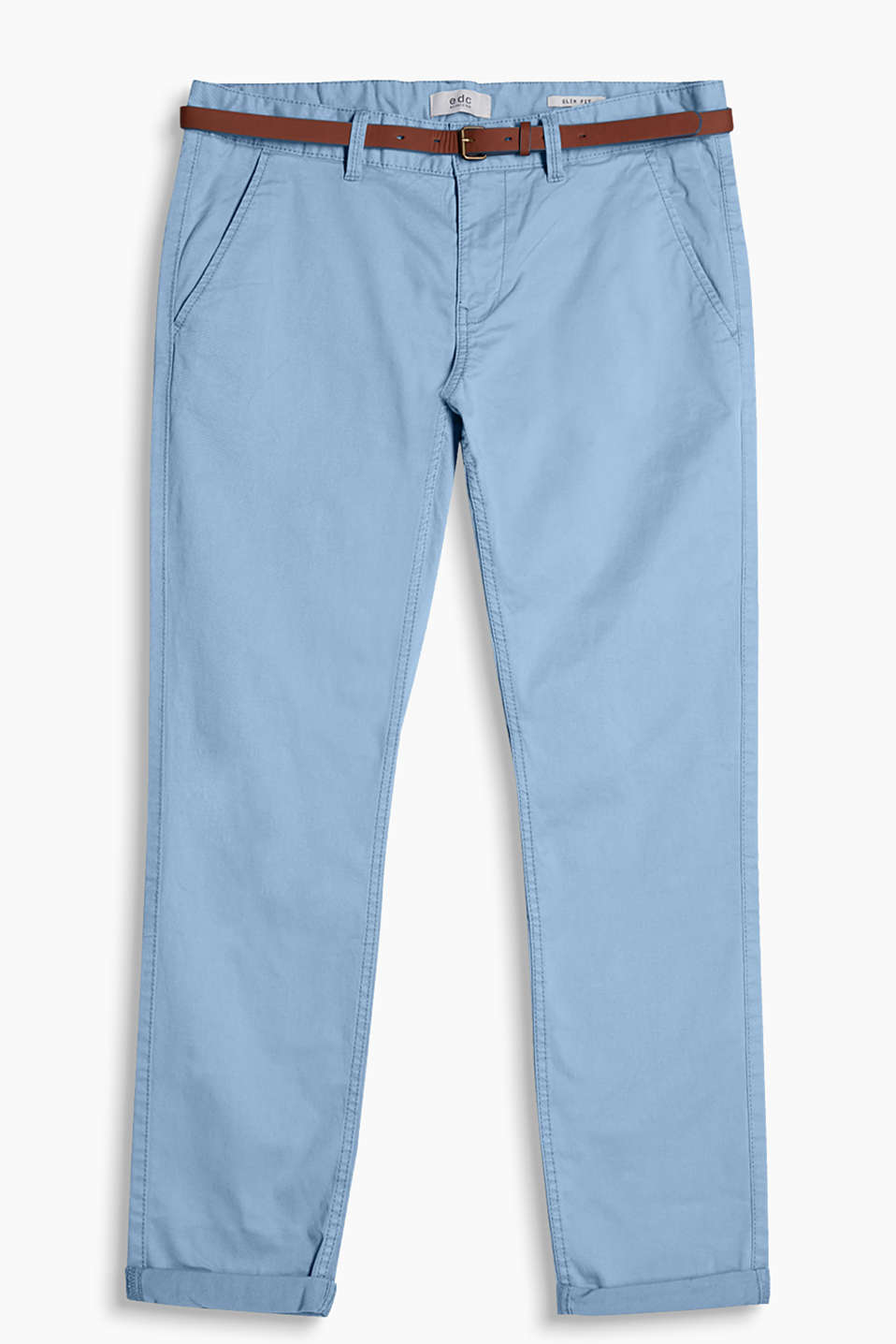 Chinos in a garment-washed look and a narrow faux leather belt, made of cotton with added stretch for comfort