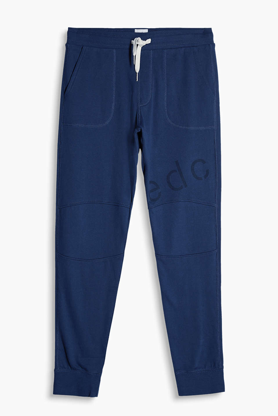 Tracksuit bottoms with ribbed trims on the waistband and leg hems in a sporty look