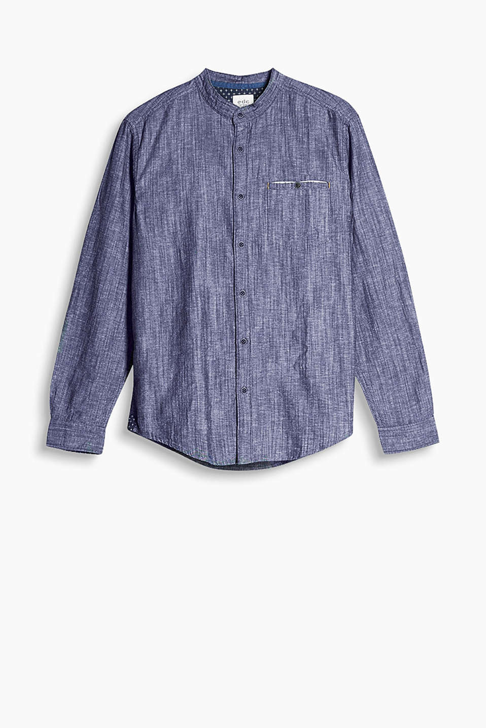 Granddad shirt with a button-down breast pocket, made from soft cotton chambray with a melange finish