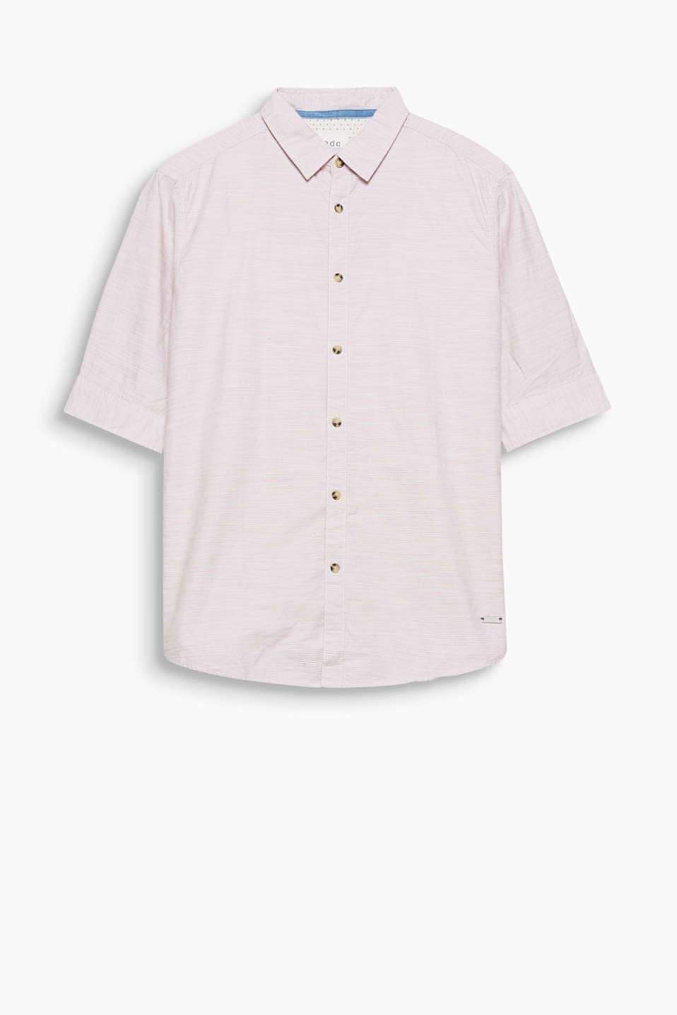 Pure cotton shirt with fine woven stripes and short, roll-up sleeves