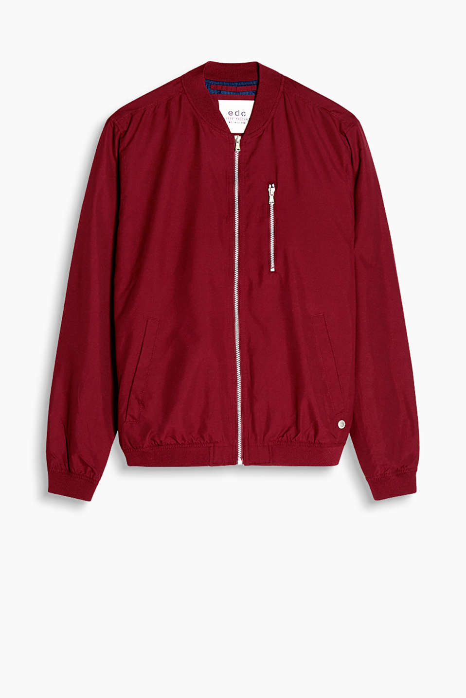 Bomber jacket made of soft fabric with ribbed welts