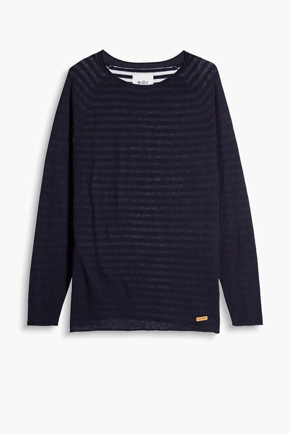 Fine-knit, cotton yarn jumper with a round neck, raglan sleeves and shimmering, striped layered-effect inserts