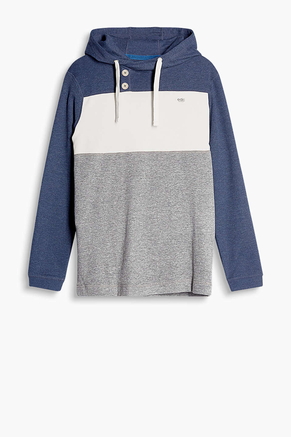 Soft cotton-blend hoodie with a fine texture and wooden buttons on the neckline