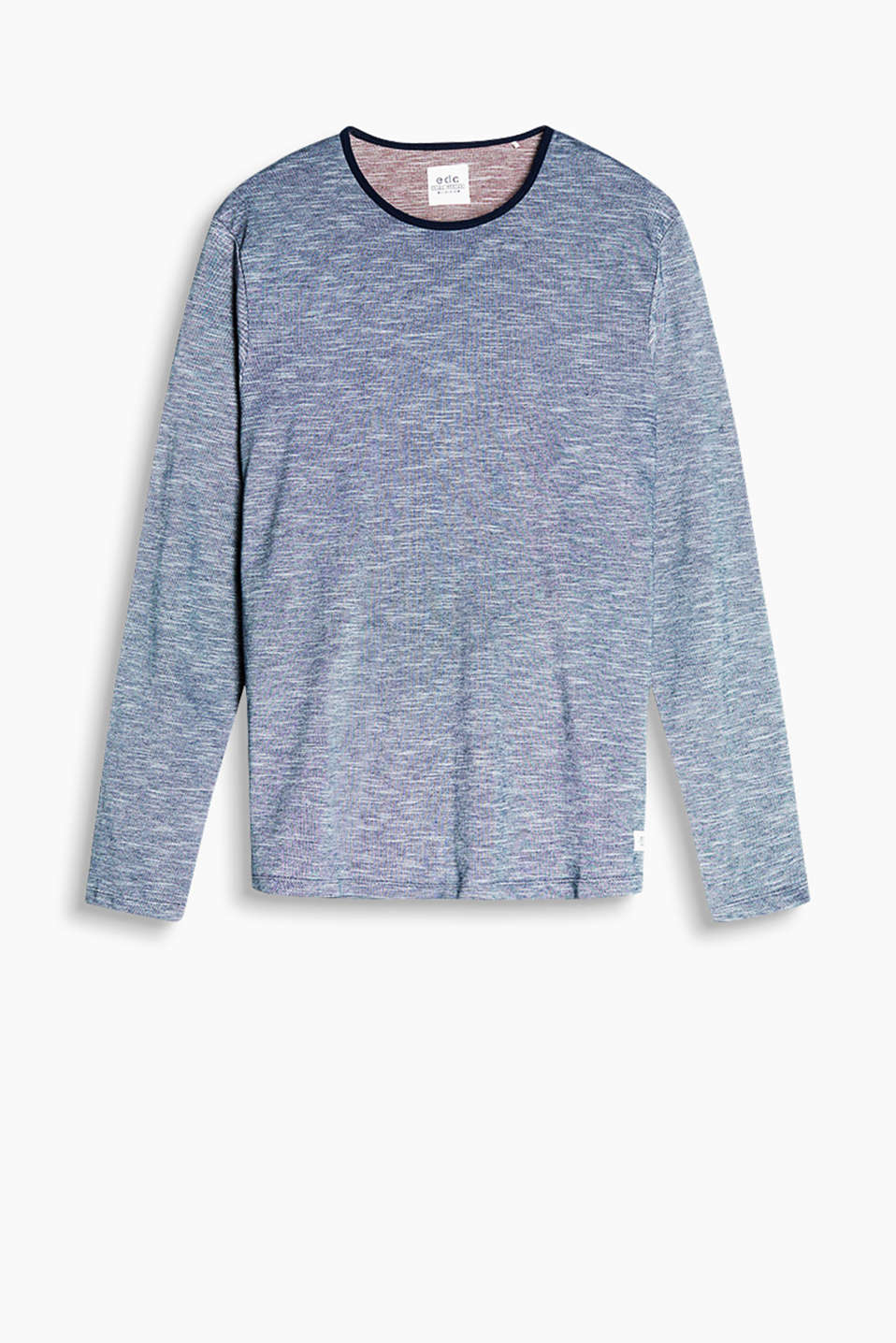 Two-tone long sleeve top in 100% cotton