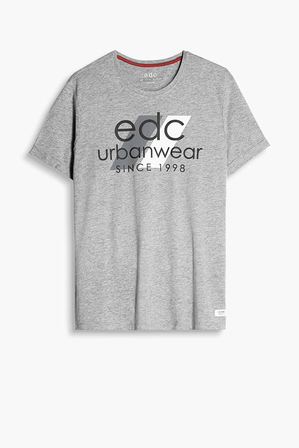 Soft, blended cotton T-shirt with a ribbed, round neck trim and an urban-style logo print