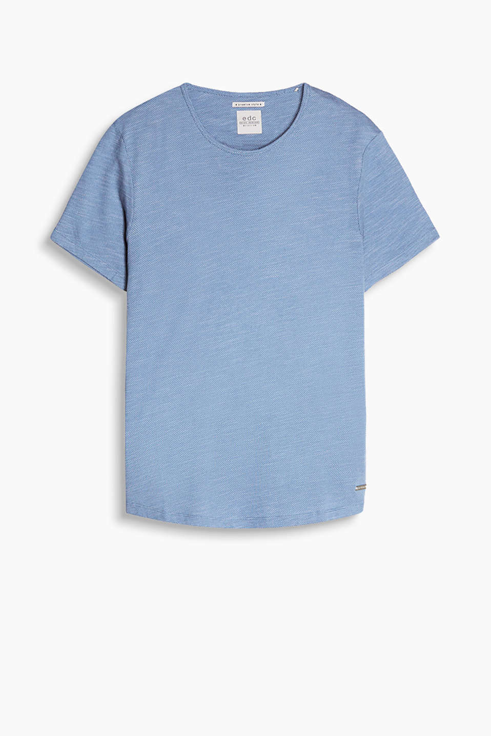 T-shirt in soft cotton jersey with an exciting intarsia texture