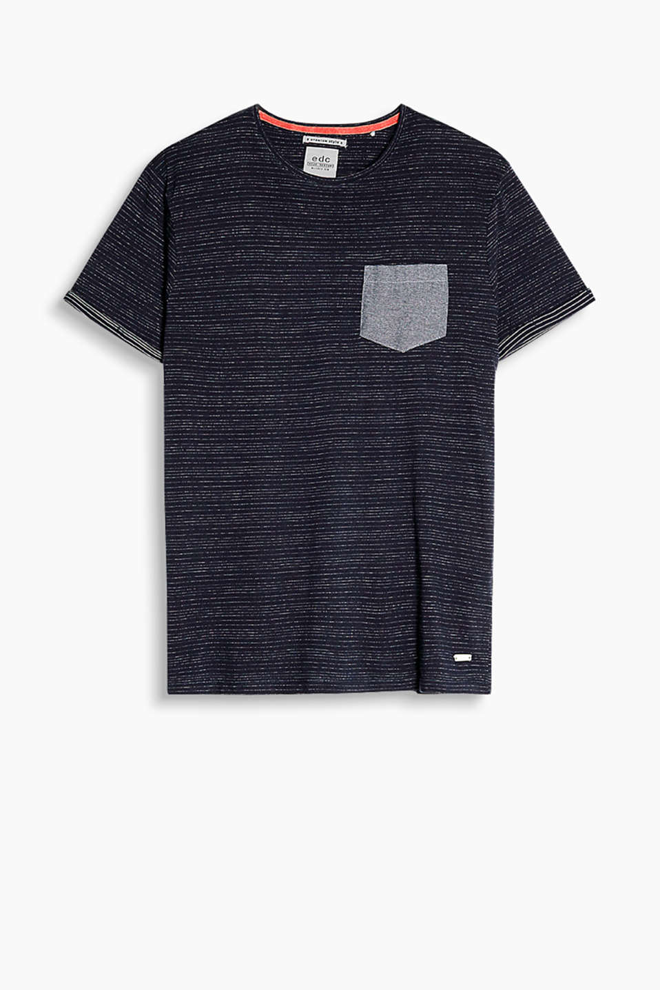 Stripe T-shirt in 100% cotton with a fine inside-out print and a patch breast pocket