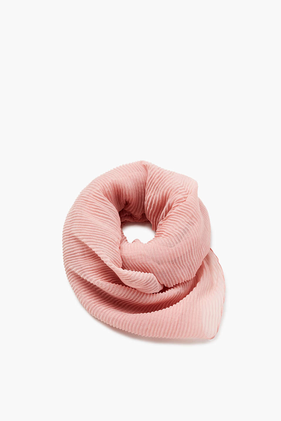 Delicate scarf with fine pleats, semi-sheer
