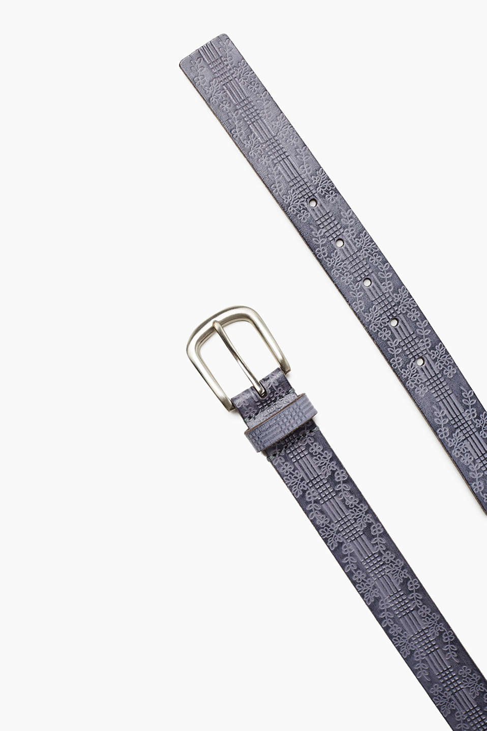 Made of robust buffalo leather: belt with a floral pattern