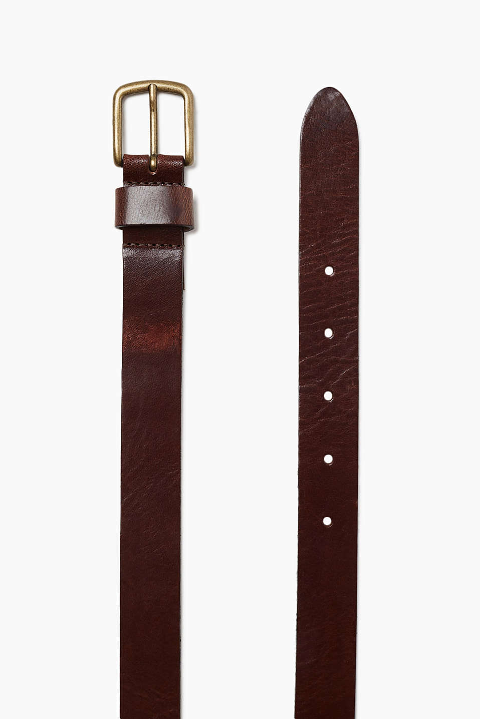 With a metal buckle: belt in robust cowhide leather with a vintage finish