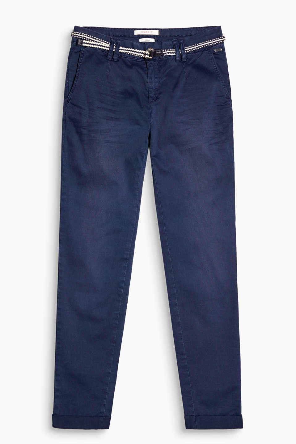 With authentic whiskering and garment-washed effects: chinos with a narrow woven belt, made of stretch cotton