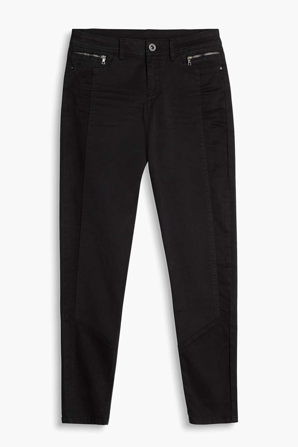 Soft stretch cotton biker-style trousers