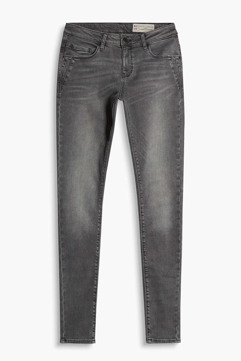 Skin-tight and comfortable: grey skinny jeans with a high percentage of stretch