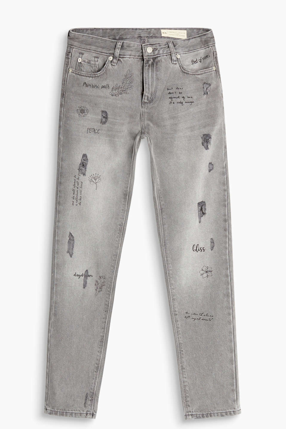 Vintage jeans made of strong cotton denim with pretty prints and heavy vintage effects