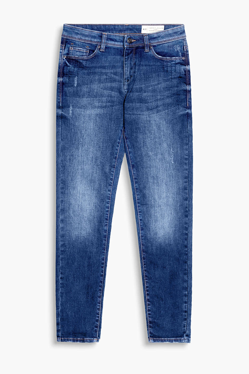 Verkürzte Stretch-Denim mit dezenten Used-Effekten