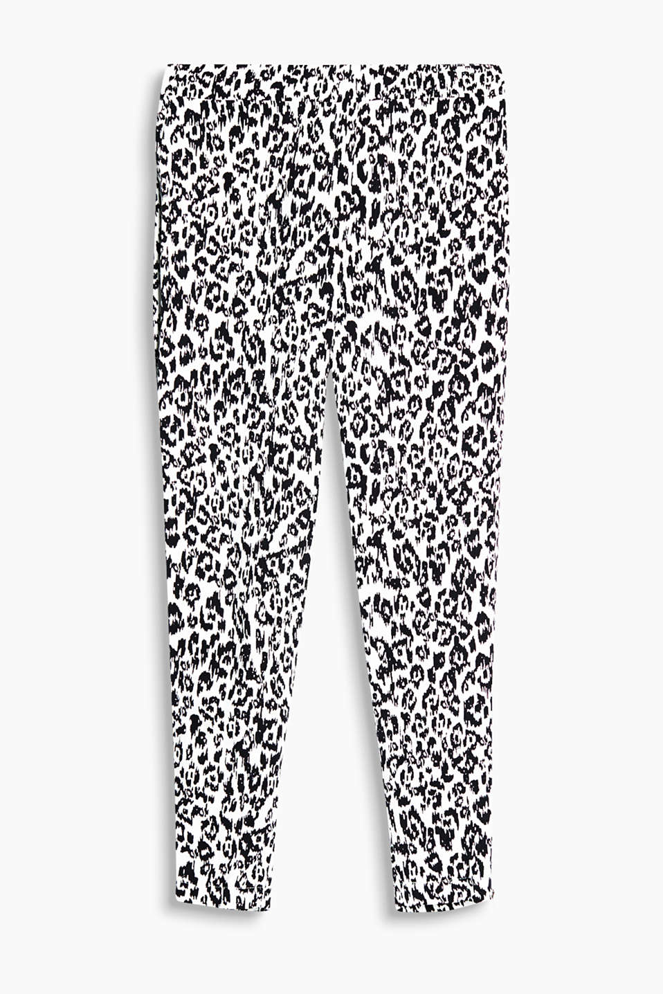 Floaty trousers with a stylish, leopard skin print, part-elasticated waistband and side hem zips