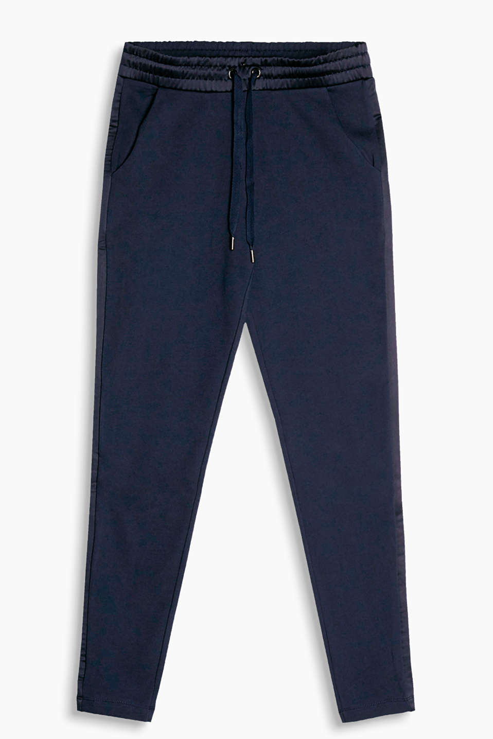 Tracksuit bottoms with an elasticated waistband and tuxedo stripes in shimmering satin fabric
