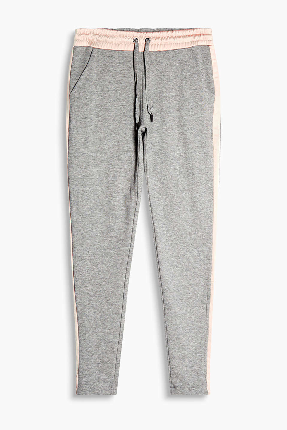 Melange tracksuit bottoms with an elasticated waistband and galon stripes in shimmering satin fabric