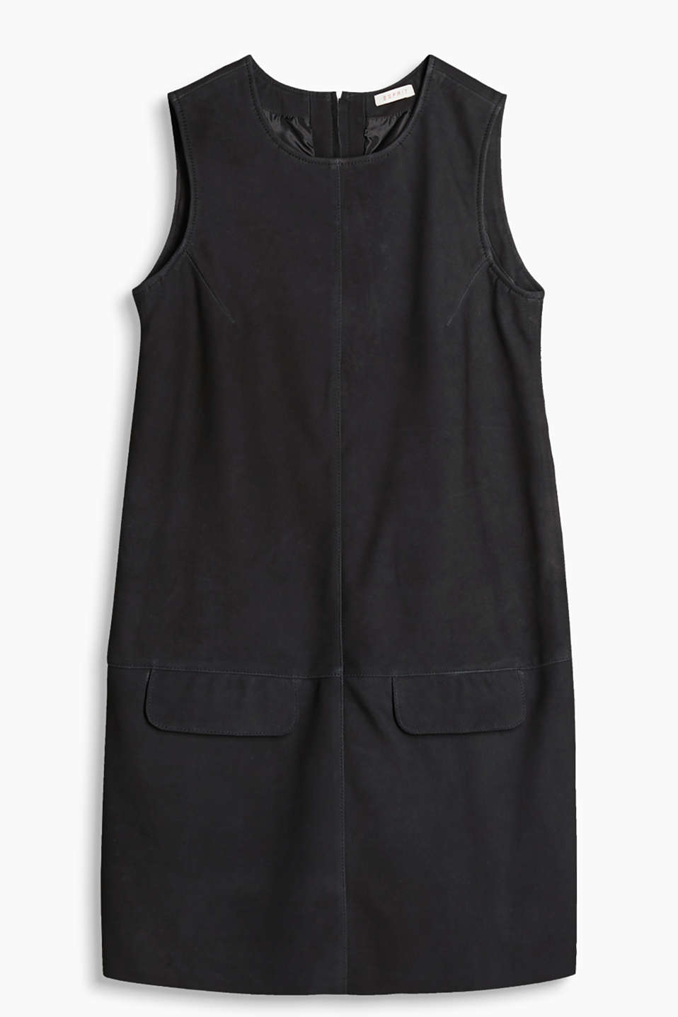 Soft dress with flap pockets and a zip at the back, 100% leather